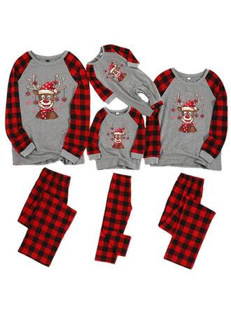 Deer Kratę Kwiatowy Rodzinne Dopasowanie Świąteczne piżamy