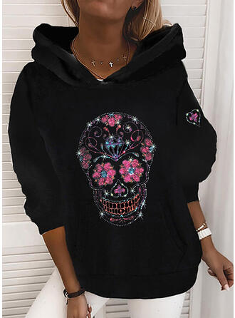 Floral Sequins Long Sleeves Hoodie