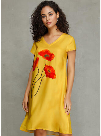 Εκτύπωση/Φλοράλ Κοντά Μανίκια Αμάνικο Μήκος Γόνατος Καθημερινό Сукні