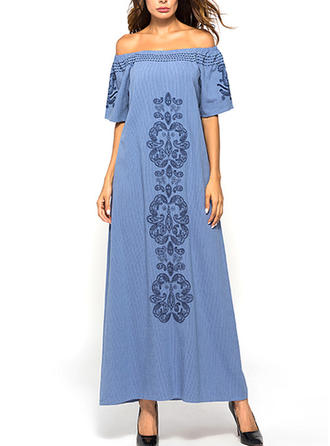 Embroidery Solid Off-the-Shoulder Maxi Shift Dress