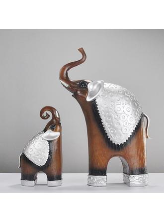 Estilo Moderno Resina Elefante Figuras y esculturas (Juego de 2)