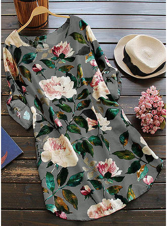Print/Floral Long Sleeves Shift Knee Length Casual/Boho/Vacation Dresses