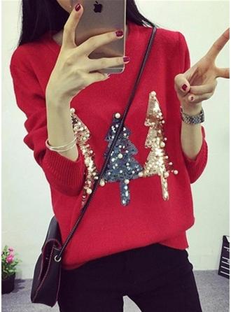 Mieszanki bawełniane Okrągły Dekolt Wydrukować Brzydki świąteczny sweter