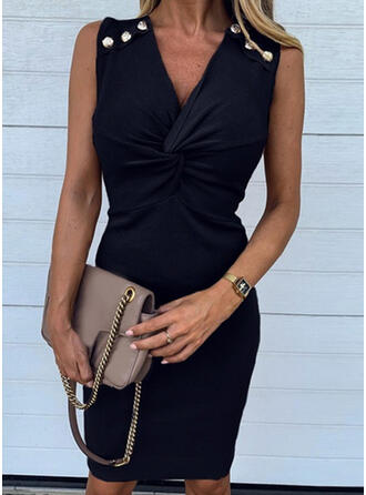 Solid Sleeveless Bodycon Knee Length Little Black/Casual/Elegant Dresses