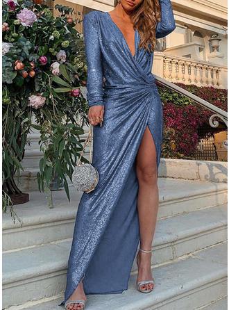 Jednolita Długie rękawy Pokrowiec Maxi Przyjęcie Sukienki