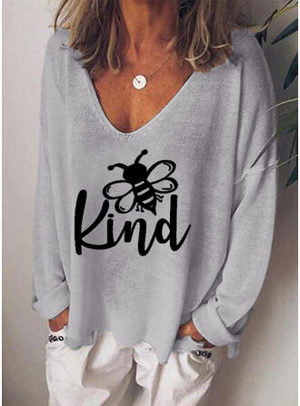 Animal Print Figure V-Neck Long Sleeves Casual Knit T-shirts
