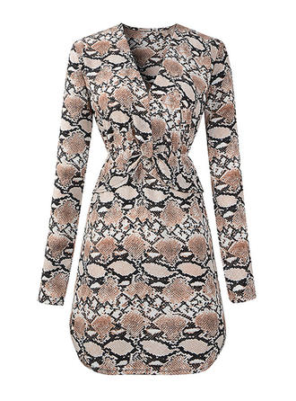 Animal Print Long Sleeves A-line Above Knee Party Dresses