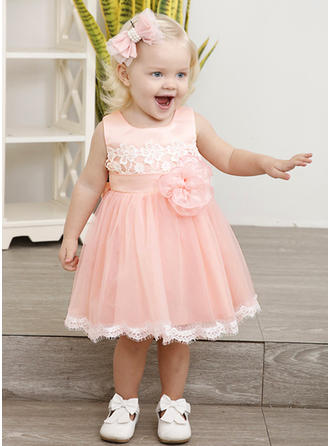 Girls Round Neck Floral Lace Cute Party Dress