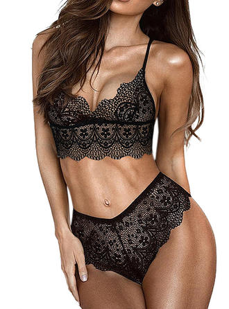 Acrylic Lace Plain Lingerie Set