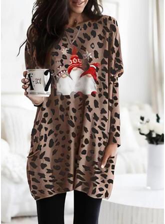 Print Leopard Lommer rund hals Lange ærmer Jule sweatshirt