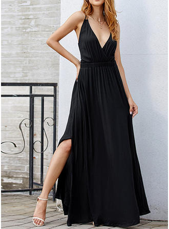 Solid Sleeveless A-line Maxi Little Black/Sexy/Party Dresses