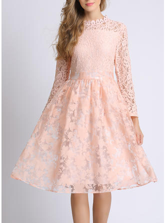 Lace Long Sleeves A-line Knee Length Casual Dresses