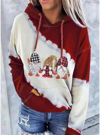 Print Color Block Grid Leopard Long Sleeves Christmas Sweatshirt
