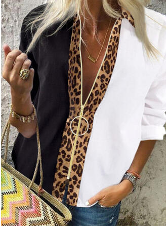 Color Block Patchwork Leopard Lapel Long Sleeves Casual Shirt Blouses