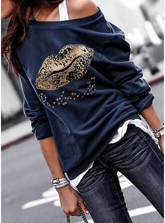 Print Leopard One Shoulder Lange ærmer Sweatshirts