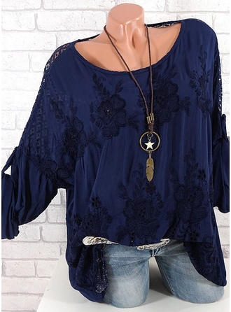 Cotton Round Neck Print 3/4 Sleeves Casual Blouses