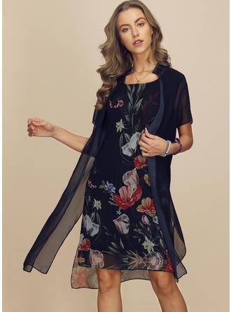 Impresión/Floral Manga Corta Tendencia Hasta la Rodilla Casual Vestidos