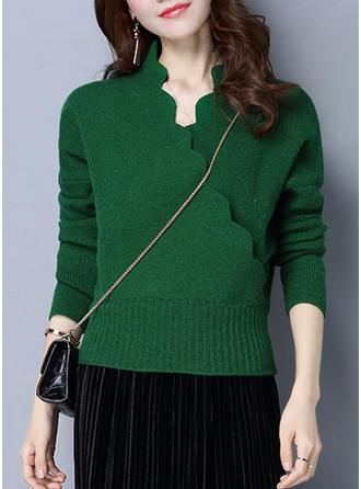 Polyester V-neck Plain Sweater