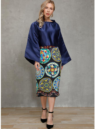 Print Long Sleeves A-line Knee Length Casual/Party Dresses