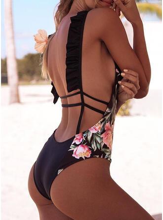 Print High Cut Strap Round Neck Fresh One-piece Swimsuits
