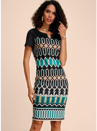 Geometric Print Short Sleeves Bodycon Knee Length Casual Dresses