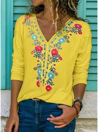 Print Floral V-Neck Long Sleeves Casual T-shirt