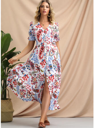 Print/Floral Short Sleeves A-line Midi Casual/Boho/Vacation Dresses