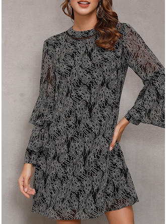 Print Flare Sleeves A-line Above Knee Casual Dresses