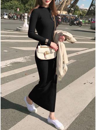 Poliester Okrągły Dekolt Jednolity kolor Sukienka sweterkowa