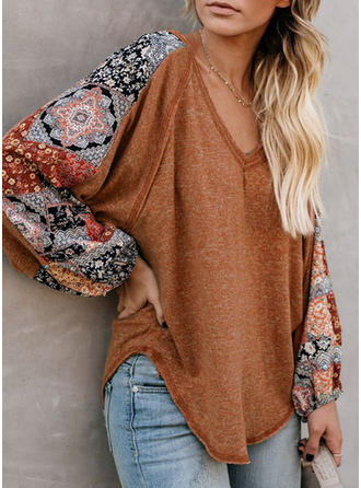 Print Patchwork V-neck Long Sleeves Casual Oversized Blouses