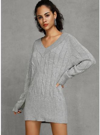 Jednolity Dekolt w kształcie litery V Sukienka sweterkowa