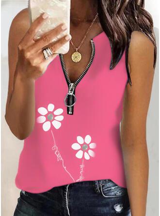 Kwiatowy Nadruk Wytłaczany Dekolt w kształcie litery V Bez Rękawów Koszulki bez rękawów
