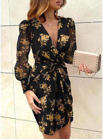 Print/Floral Long Sleeves/Puff Sleeves Bodycon Above Knee Party/Vacation Dresses