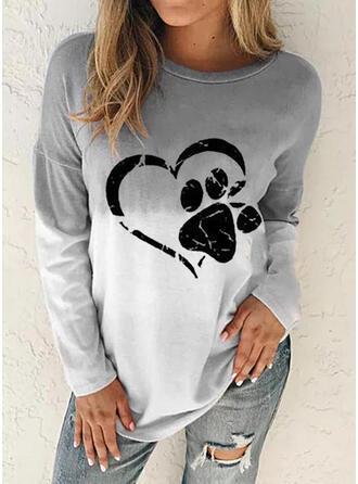 Dyr Gradient Hjerte rund hals Lange ærmer Sweatshirts