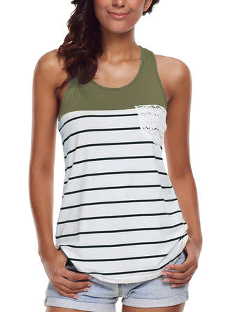 Striped Round Neck Sleeveless Casual Blouses