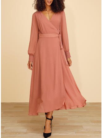Lace/Solid Long Sleeves A-line Maxi Casual/Elegant Dresses