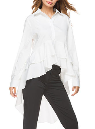 Polyester Lapel Plain Long Sleeves Shirt Blouses