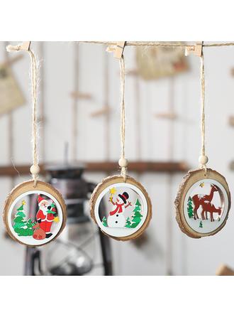 Monigote de nieve Reno Papa Noel Navidad Colgando Decoración navideña De madera Colgante de navidad Adornos colgantes de árboles