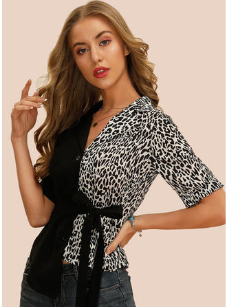 Animal Print Lapel 1/2 Sleeves Button Up Casual Blouses