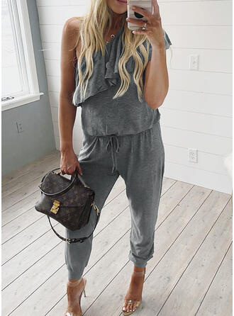 Solid One Shoulder Sleeveless Casual Jumpsuit
