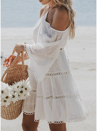 Solid Long Sleeves/Flare Sleeves A-line Above Knee Casual/Vacation Dresses