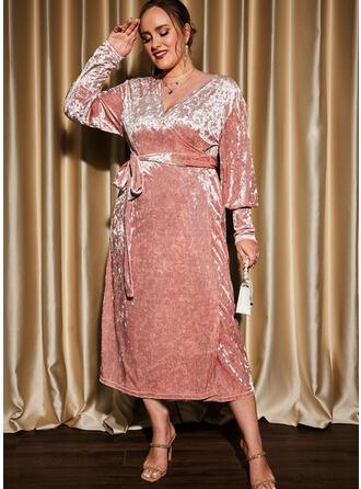 Jednolity Długie rękawy Lantern Sleeve Pokrowiec Impreza/Duży rozmiar Midi Sukienki