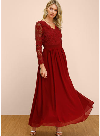 Lace/Solid Long Sleeves A-line Maxi Sexy/Party Dresses