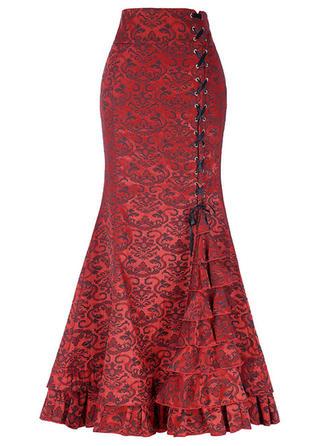 Bomull Linné Print Maxi Bodycon kjolar