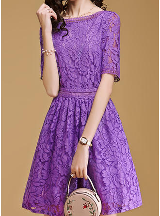 Lace Round Neck Above Knee A-line Dress