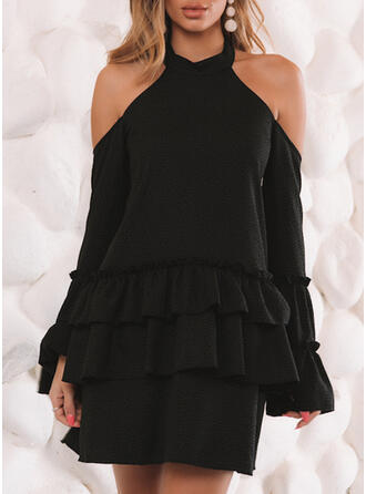 Solid Long Sleeves Sheath Above Knee Little Black/Sexy/Party Dresses
