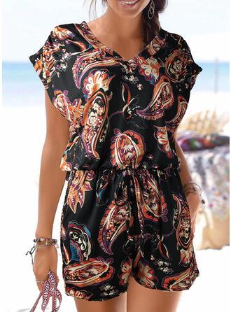 Print V-Neck Short Sleeves Casual Boho Vacation Romper