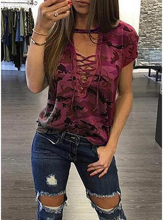 Print V-Neck Short Sleeves Casual Sexy T-shirts