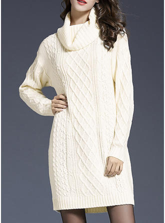 Solid Cable-knit Turtleneck Sweater Dress