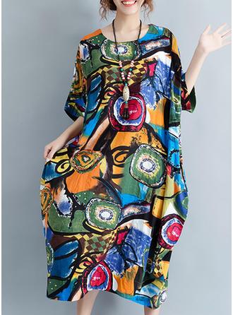Wydrukować Okrągły Dekolt Midi Sukienkę przesunąć